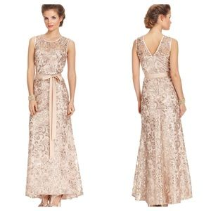 Betsy & Adam Gold Sequined Gown